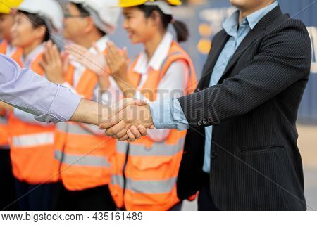 Architects Shaking Hand At Construction Site, Agreement In Business.