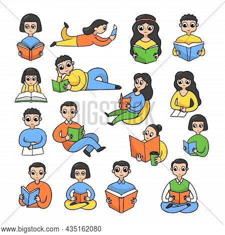 Male And Female Cartoon Characters Reading Books Sticker Set. Collection Of Men And Women Studying A