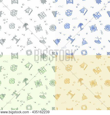 Set Of Seamless Patterns With Doodle Linear Icons. Submarine, Lifebuoy, Buoy On Waves, Compass, Map.