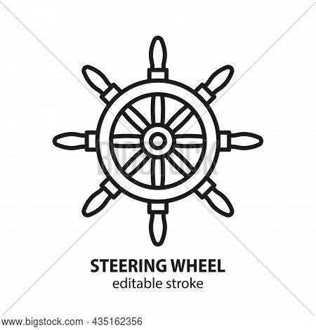 Ship Steering Wheel Vector Icon. Symbol  Of Navigation, Cruise, Travel, Adventure. Editable Stroke.