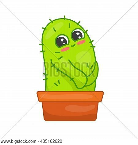 Shy Little Cactus In Pot Cartoon Character Sticker. Modest Green Plant With Spikes. Flat Vector Illu