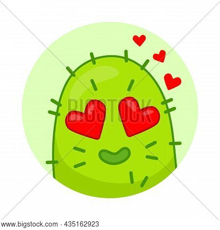 Cute Green Cactus In Love. Cartoon Character With Hearts Instead Of Eyes. Flat Vector Illustration.