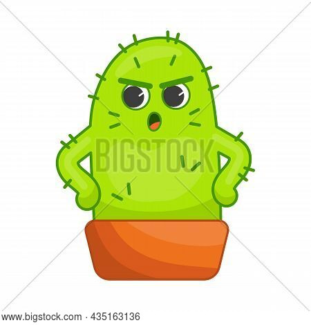Angry Cactus Cartoon Character Sticker. Upset Plant With Spikes In Pot Holding Hands On Hips. Face E