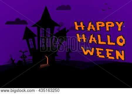 Halloween Background With Dark Silhouette Of Abbandoned Old House, Graveyard, Ghosts And Bats. Happy
