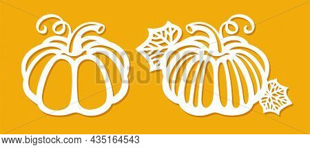 Set Of Carved Paper Pumpkins. Ripe Autumn Gourds With Leaves And Curl. Decoration For The Holiday. T
