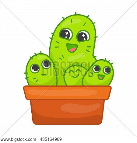 Happy Cactus Family Flat Vector Illustration. Green Cartoon Characters In Pot Laughing. Family, Toge