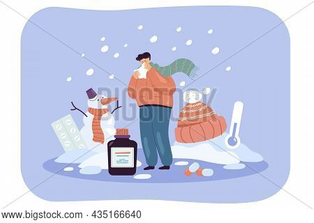 Sick Cartoon Man In Winter Clothes Sneezing Into Tissue. Male Character With Cold Outdoors, Low Temp