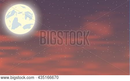 Red Moonlight Landscape With Stars And Clouds On Sky