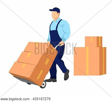 Mover Carries A Cart With Boxes. Cardboard Packaging Boxes Are Standing Nearby. Relocation. Transpor