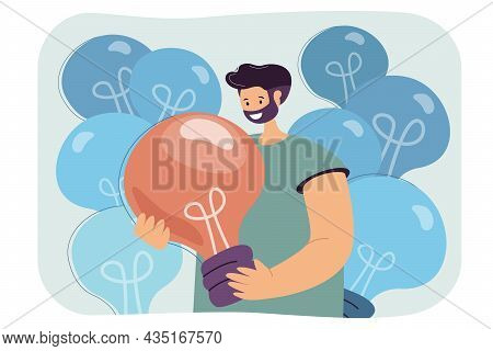 Happy Male Cartoon Character Holding Huge Lightbulb. Creative Young Man Searching For New Ideas Flat