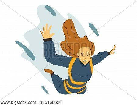 Girl Flying In The Sky With A Parachute. Illustration In Trendy Colors, Isolated On A White Backgrou