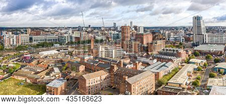Leeds, Uk - October 1, 2021.  An Aerial Panoramic View Of Leeds City Centre Cityscape Skyline In Wes