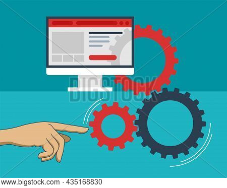 Frontend And Backend Development. User Interface With Hand Moving Gears Mechanism Underground. Flat