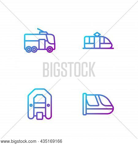 Set Line Train And Railway, Rafting Boat, Trolleybus And Tram. Gradient Color Icons. Vector