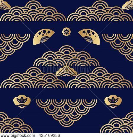 Beautiful Japanese Seamless Pattern With  Ocean, Sea Waves, Clouds, Sakura Flowers. Vector Oriental
