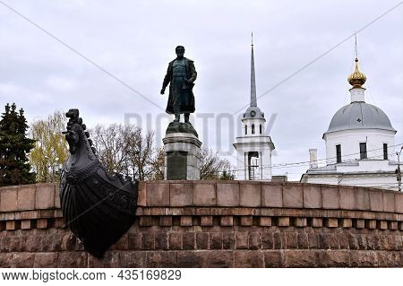 Tver, Russia - October 26, 2020: Beautiful Urban Landscape Tver With View Of Monument  Afanasy Nikit