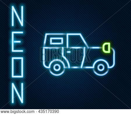 Glowing Neon Line Off Road Car Icon Isolated On Black Background. Jeep Sign. Colorful Outline Concep