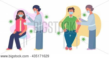 Asian Adults Vaccination Vector Concept. Adults Man And Woman Are Sitting Having Vaccination. Nurse