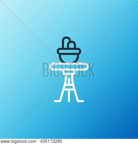 Line Plant In Pot On Table Icon Isolated On Blue Background. Plant Growing In A Pot. Potted Plant Si