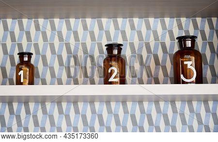 Pharmacy Jars. Glass Jars On A Shelf