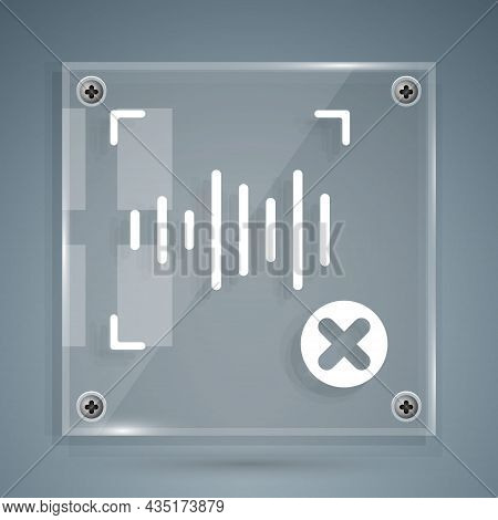 White Rejection Voice Recognition Icon Isolated On Grey Background. Voice Biometric Access Authentic