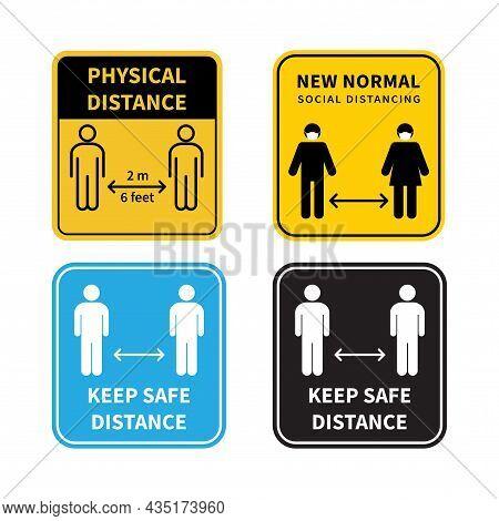 Set Of Social Distancing Sign. Keep The 1-2 Meter Distance. Coronovirus Epidemic Protective. Vector