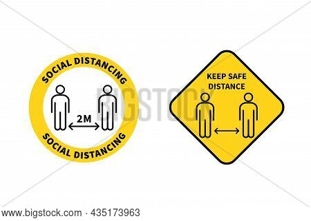 Social Distancing Sign. Keep The 1-2 Meter Distance. Coronovirus Epidemic Protective. Vector Illustr