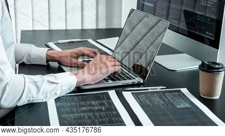 Developer Programmer Working On Coding Program Software Computer In Office, Writing Website And Deve