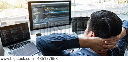 Developer Programmer Relaxing And Looking Project In Software Development Computer In It Company Off