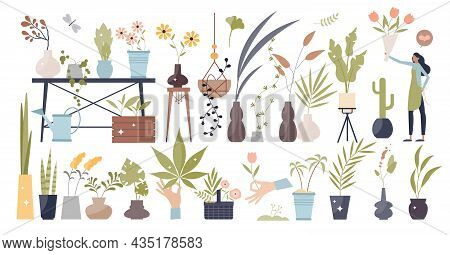 Flowers And Plants Elements With Leafs In Pots Tiny Person Collection Set. Nature Beauty And Green G