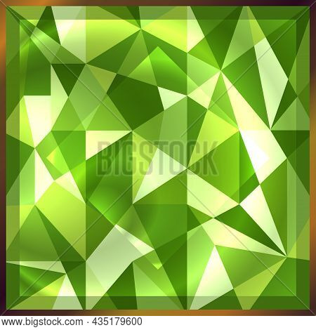 Square Green Gem Emerald In Golden Frame. Shiny Precious Gemstone  Background. Abstract Beautiful Ge