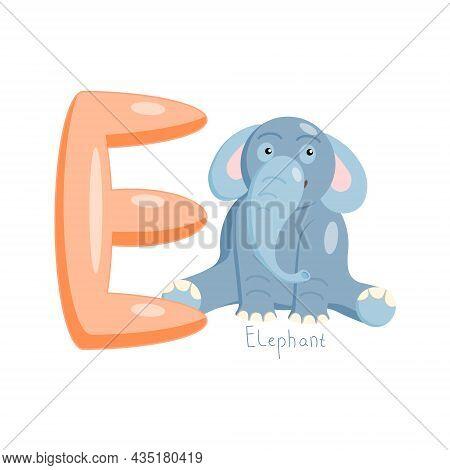 Letter E. Childrens Alphabet, Cute Elephant. Vector Illustration For Learning English.
