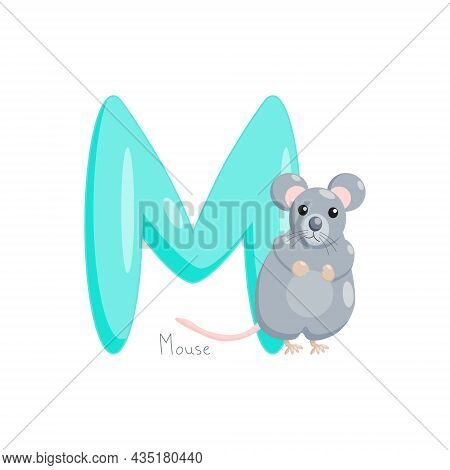 Letter M. Childrens Alphabet, Cute Mouse. Vector Illustration For Learning English.