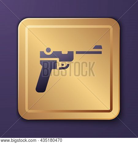 Purple Mauser Gun Icon Isolated On Purple Background. Mauser C96 Is A Semi-automatic Pistol. Gold Sq