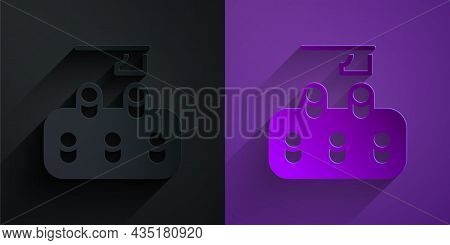 Paper Cut Deforestation Icon Isolated On Black On Purple Background. Chopping Forest, Destruction Of