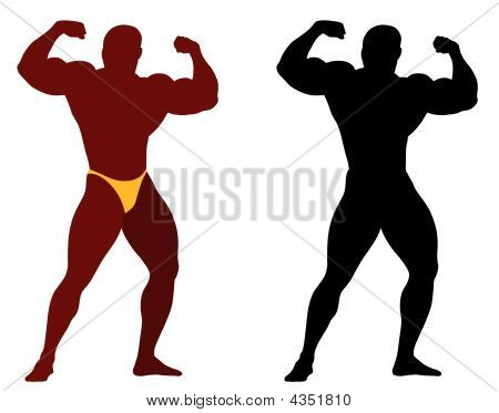 Abstract vector illustration of bodybuilder in specific pose poster