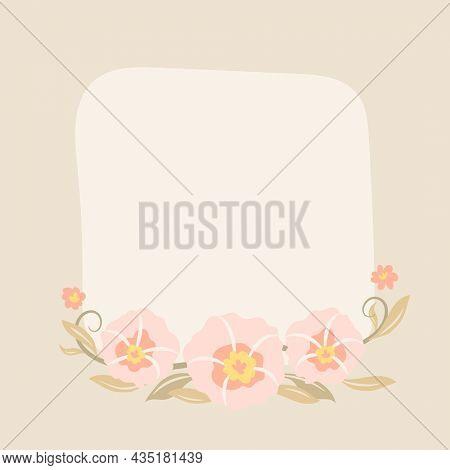 Flower frame, pastel flat design spring illustration