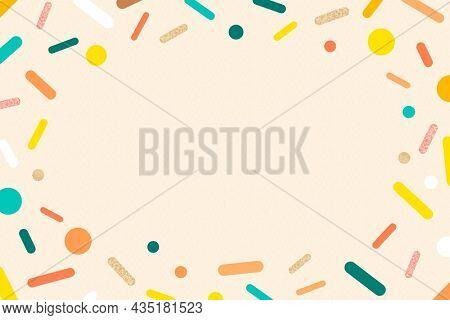 Cream sprinkles frame background, cute pastel ice-cream design