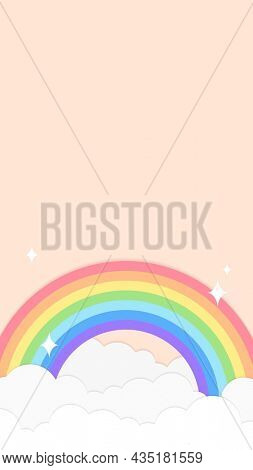 Rainbow iPhone wallpaper, cute mobile background with pastel orange paper cut illustration