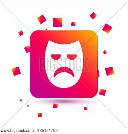 White Drama Theatrical Mask Icon Isolated On White Background. Square Color Button. Vector