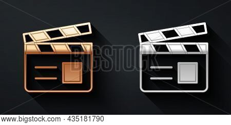 Gold And Silver Movie Clapper Icon Isolated On Black Background. Film Clapper Board. Clapperboard Si
