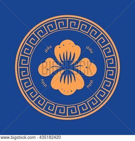 Orange peony flower badge Chinese traditional symbol