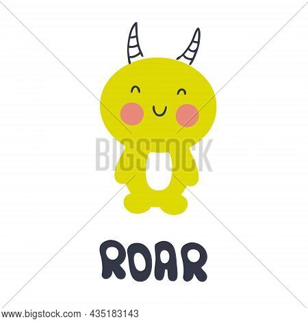 Hand Drawn Vector Cute Horned Monster. Perfect For T-shirt, Textile And Prints. Cartoon Style Illust