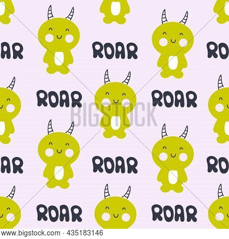 Hand Drawn Horned Monsters Seamless Pattern. Perfect For T-shirt, Textile And Prints. Cartoon Style