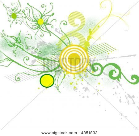 Green Yellow Floral Background
