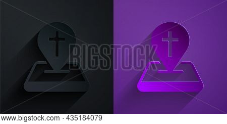 Paper Cut Map Pin Church Building Icon Isolated On Black On Purple Background. Christian Church. Rel