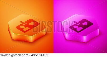 Isometric Identification Card Volunteer Icon Isolated On Orange And Pink Background. Volunteer Id Ca