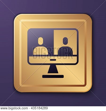 Purple Video Chat Conference Icon Isolated On Purple Background. Computer With Video Chat Interface