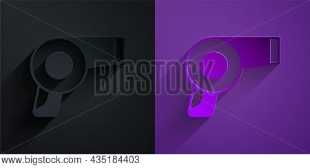 Paper Cut Hair Dryer Icon Isolated On Black On Purple Background. Hairdryer Sign. Hair Drying Symbol