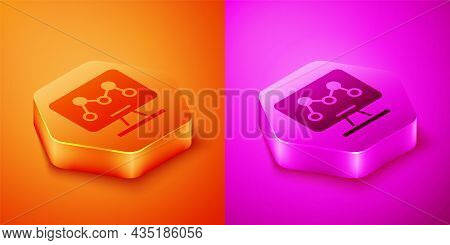 Isometric Genetic Engineering Modification On Laptop Icon Isolated On Orange And Pink Background. Dn